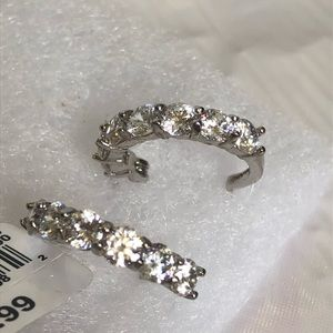 Silver hoop earrings with cubic zirconium new